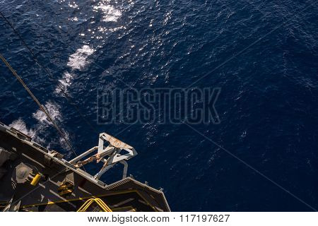 Anchor at port side of jack up oil rig