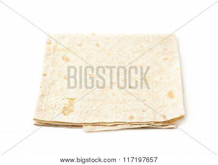 Thin armenian lavash bread isolated