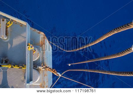 Top Perspcetive At Bow Of Jack Up Oil Rig With The Blue Ocean