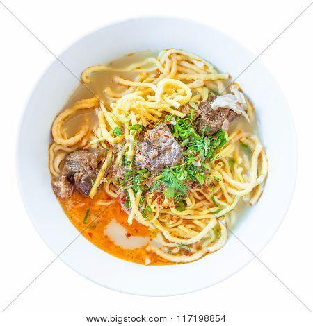 Isolated Khao Soi Noodle On White Background