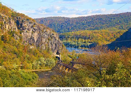 Aerial view on railroad tunnel and bridge in harpers Ferry West Virginia.