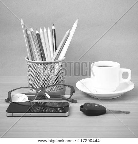 Coffee,phone,eyeglasses,color Pencil And Car Key