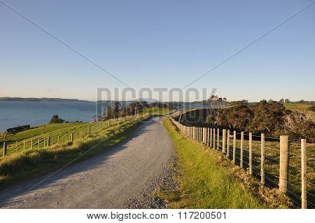 Country road by ocean