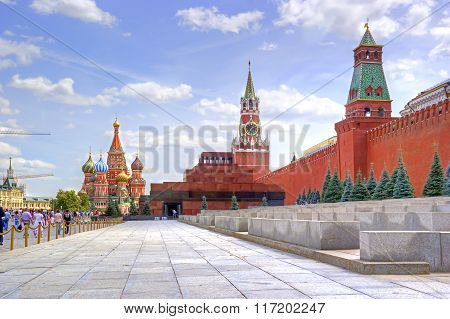 Red Square. Mausoleum Of Lenin And Kremlin