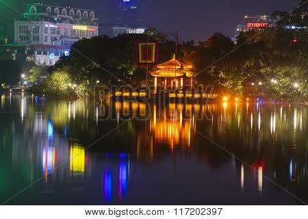 View of the Jade temple on the Hoan Kiem lake in Hanoi. Vietnam