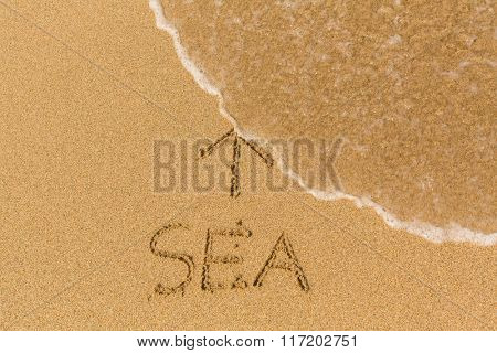 Sea - inscription on sand beach with the soft wave.