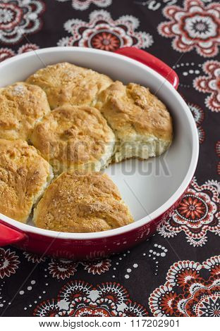 Simple Scones In The Baking Dish On A Dark Background