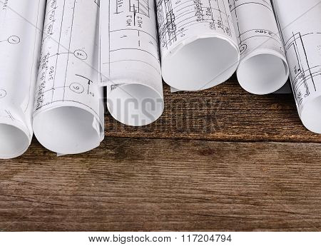 Projects Of Houses On Wooden Background