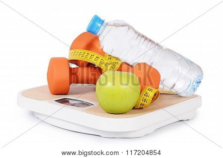 Measuring Tape With Dumbbells Isolated