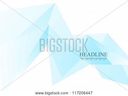 Blue low poly triangles abstract tech background. Vector brochure template