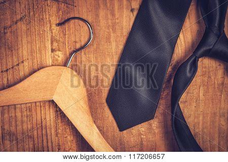 Elegant Black Tie And Cloth Hanger