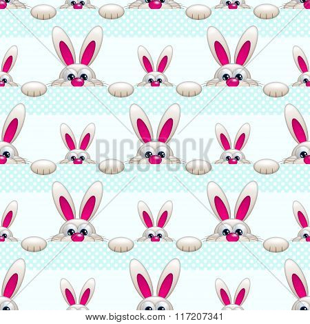 Seamless Pattern With Easter Bunny Ove Light Blue