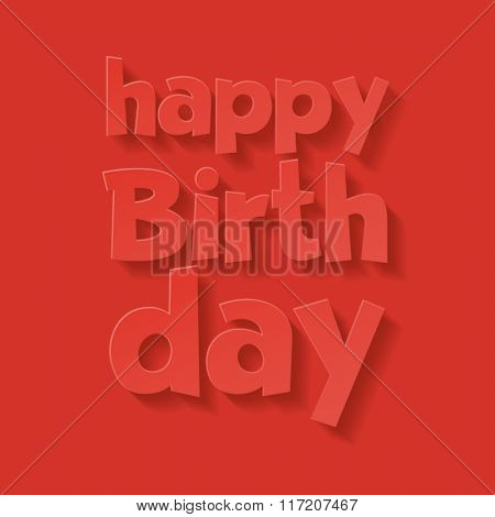 Vector minimalistic red happy birthday card with greeting text