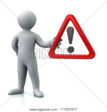 Man Hholding  Warning Attention Sign With Exclamation Mark