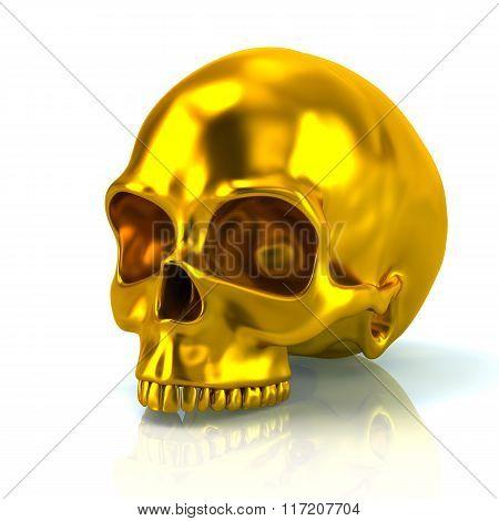 Illustration Of Golden Skull