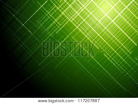 Dark green shiny tech abstract background. Vector brochure design template