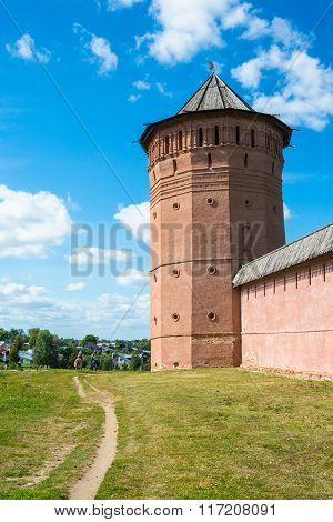 The Ancient Walls Of The Suzdal Kremlin On A Sunny Summer Day, August 28, 2015.