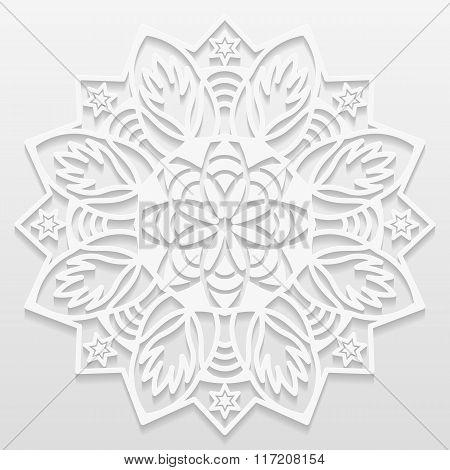 Decorative flower decorative snowflake mandala embossed pattern arabic ornamentindian ornament 3D ve