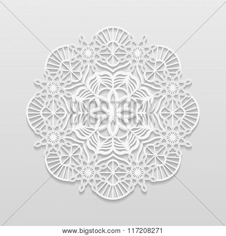 Lacy paper doily decorative flower decorative snowflake mandala embossed pattern arabic ornamentindi