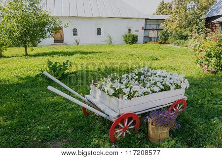 White Wooden Cart As A Bed.