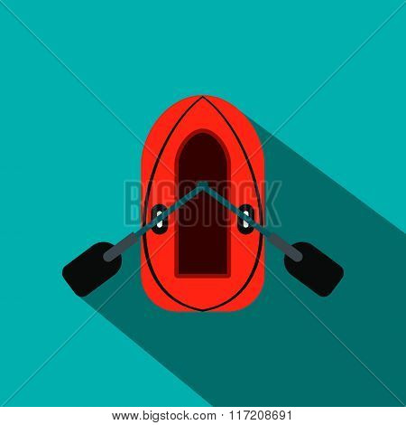 Red inflatable boat with oars flat icon