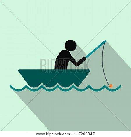 Fisherman in a boat flat icon
