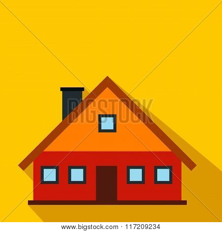 Red cottage flat icon