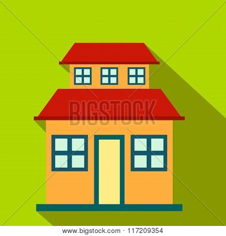 Cottage with a mansard flat icon