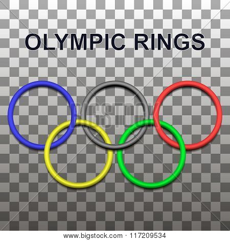 Design element 3D - the olympic rings with shadows. Vector illustration.