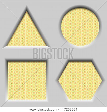Design elements - set concave geometric 3D frames. Shapes circle triangle square hexagon. All with s