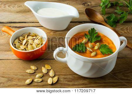 Pumpkin Cream Soup In The White Bowl