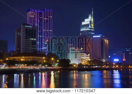 The embankment of Saigon river at night, Vietnam