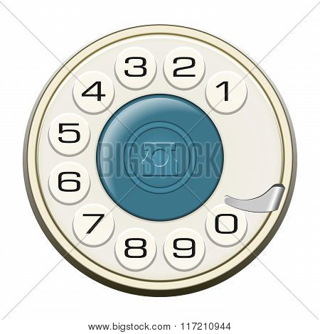 Classic Land Line Rotary Dial Isolated On White Vector