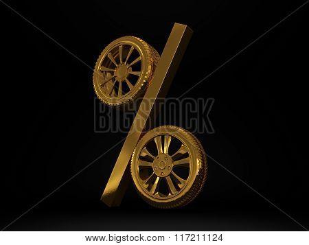 Car golden wheel sale 3d rendering