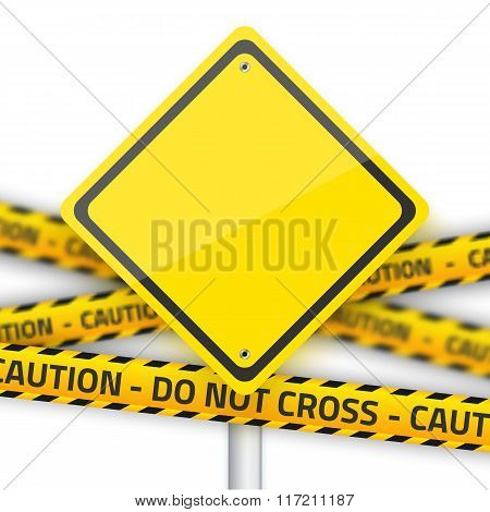 Vector Road Yellow Sign with Yellow Police Strip. Realistic Vect