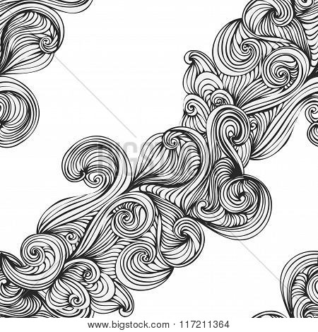 Abstract Wave Hand-drawn Pattern. Seamless Texture