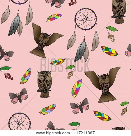 Hand-drawn Indian forest seamless pattern.