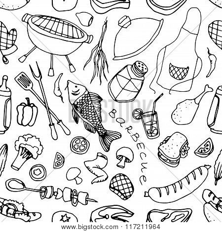 Doodle patern barbecue