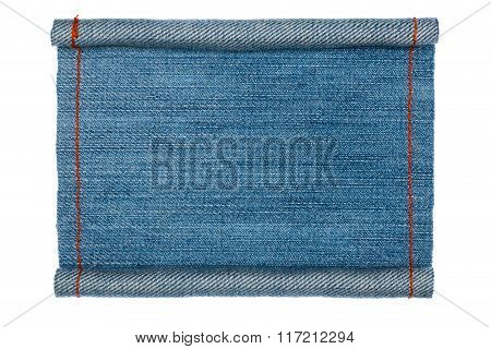 Denim Frame Folded In The Form Of Manuscripts,scroll Isolated On White Background