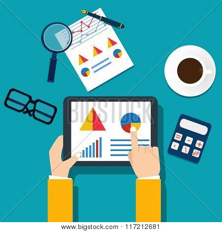 People Examining Economic Statistic. Financial Examiner. Vector Illustration.