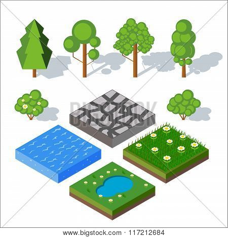 Isometric landscape elements. Bushes and trees, water, grass.