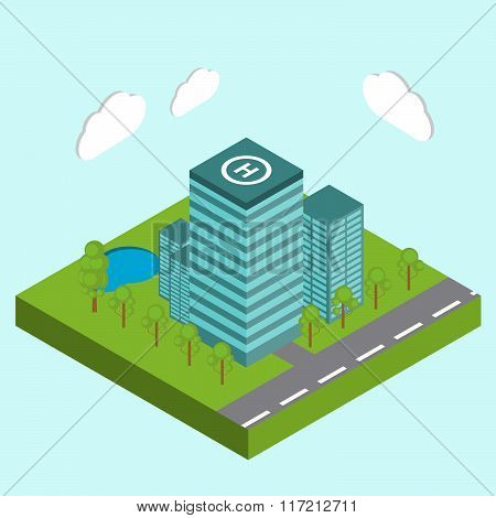 Business Center City Area Buildings Isometric Concept Abstract Vector Illustration - Stock Vector