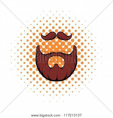 Mustache and beard comics icon