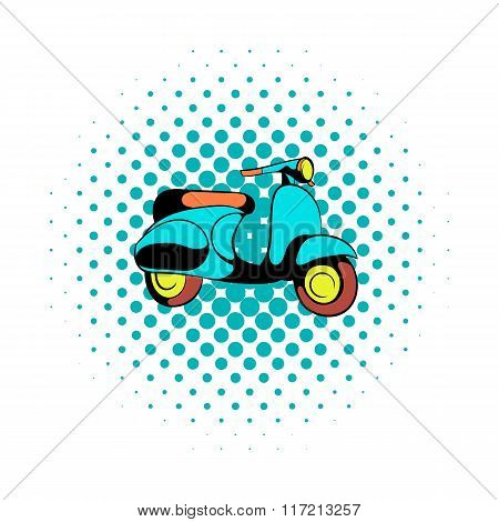 Motorcycle blue comics icon
