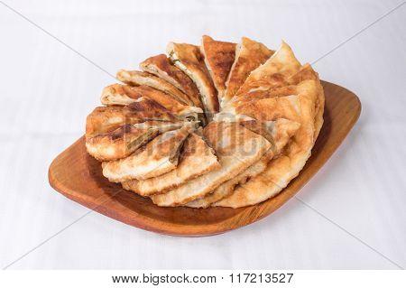 Delicious sliced puff pie.