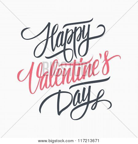 Happy Valentine's day hand lettering. Hand drawn card design. Handmade calligraphy.