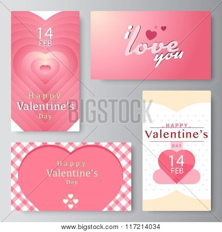 Valentine's Day Business Card, Banner, Vector Stock.