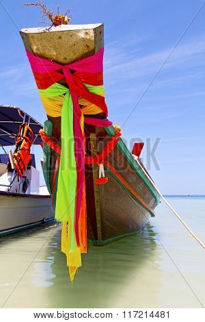 Prow Thailand  In  Kho Tao Bay      Pirogue   And South China Sea