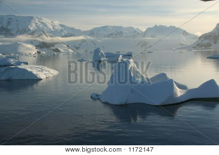Icebergs,  Mirrored In Ocean