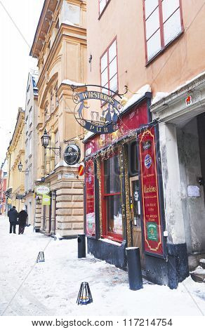 STOCKHOLM SWEDEN JANUARY 5 2011: Pub in winter Gamla Stan in Stockholm. Stockholm is the capital of Sweden and the most populous city in the Nordic countries.